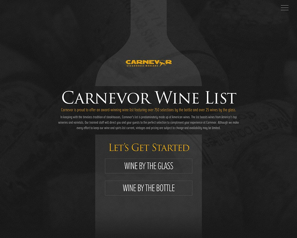 Carnevor Wine List Website